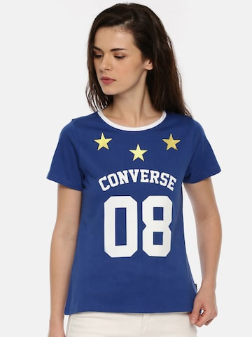 Converse Women Blue Printed Round Neck T-shirt Converse Tshirts at myntra