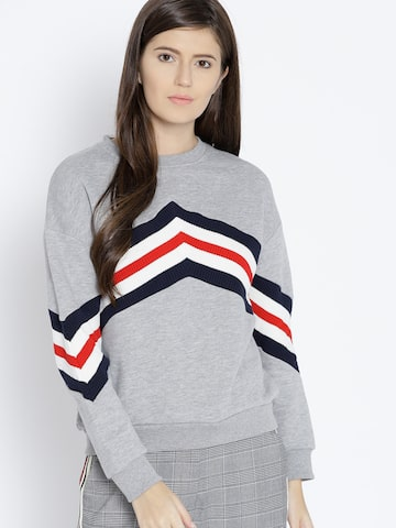 MANGO Women Grey Melange Striped Sweatshirt MANGO Sweatshirts at myntra