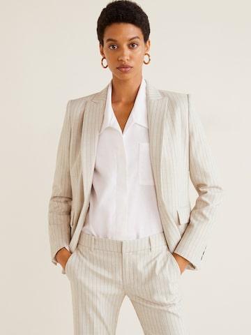 MANGO Women Off-White & Blue Brown Self Striped Single-Breasted Formal Blazer MANGO Blazers at myntra