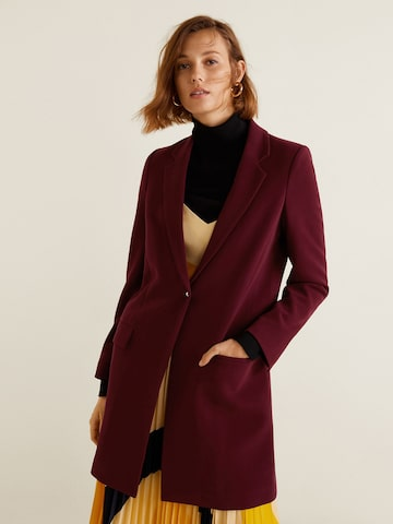 MANGO Women Maroon Solid Overcoat MANGO Coats at myntra