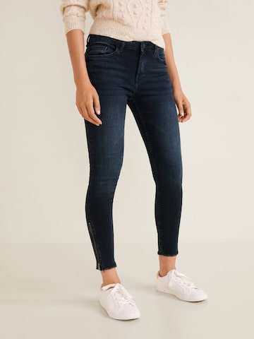 MANGO Women Navy Blue Skinny Fit Mid-Rise Clean Look Stretchable Cropped Jeans MANGO Jeans at myntra