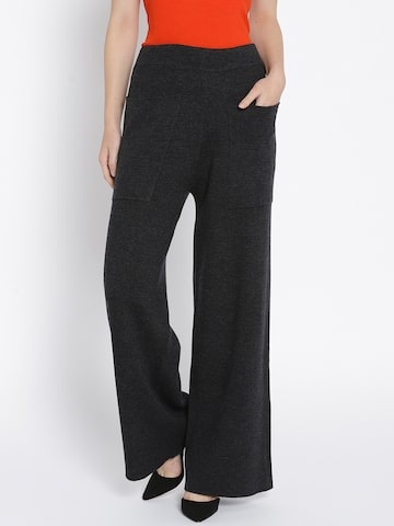 MANGO Women Charcoal Grey Flared Fit Solid Parallel Trousers MANGO Trousers at myntra