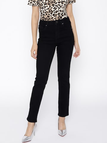 MANGO Women Black Straight Fit Mid-Rise Clean Look Stretchable Jeans MANGO Jeans at myntra