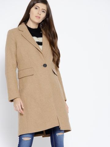MANGO Beige Solid Overcoat MANGO Coats at myntra