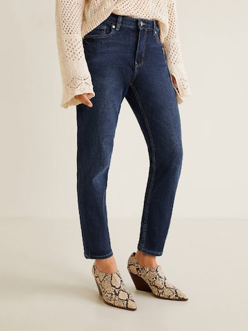 MANGO Women Navy Blue Lonny Relaxed Girlfriend Fit Mid-Rise Clean Look Stretchable Jeans MANGO Jeans at myntra