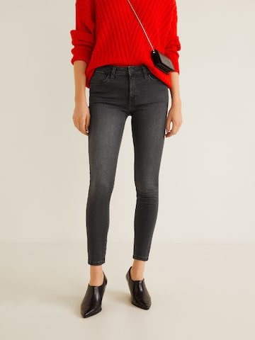 MANGO Women Charcoal Grey Skinny Fit Mid-Rise Clean Look Stretchable Jeans MANGO Jeans at myntra