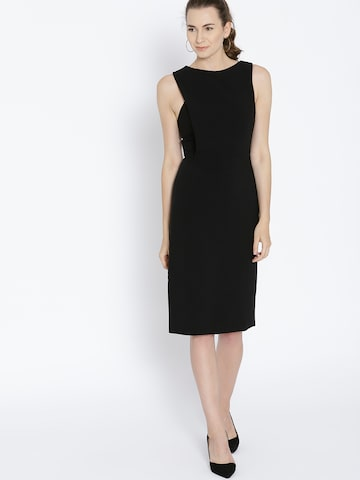 MANGO Women Black Solid Sheath Dress MANGO Dresses at myntra