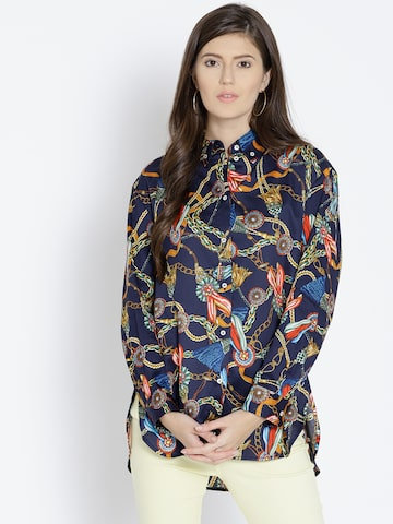 MANGO Women Multicoloured Regular Fit Printed Casual Shirt MANGO Shirts at myntra