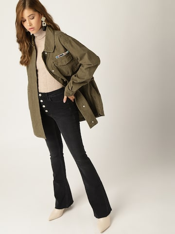 MANGO Women Olive Green Solid Parka Jacket MANGO Jackets at myntra