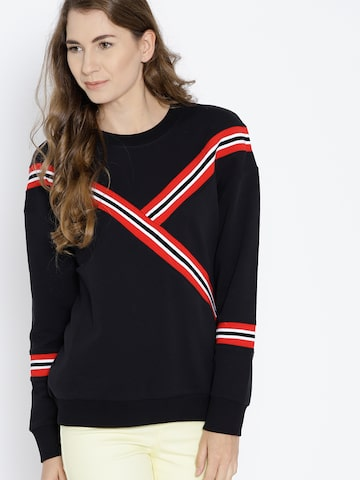 MANGO Women Black Solid Sweatshirt MANGO Sweatshirts at myntra