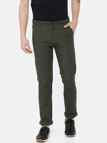 Calvin Klein Jeans Men Olive Green Regular Fit Self Design Chinos Calvin Klein Jeans Trousers at myntra
