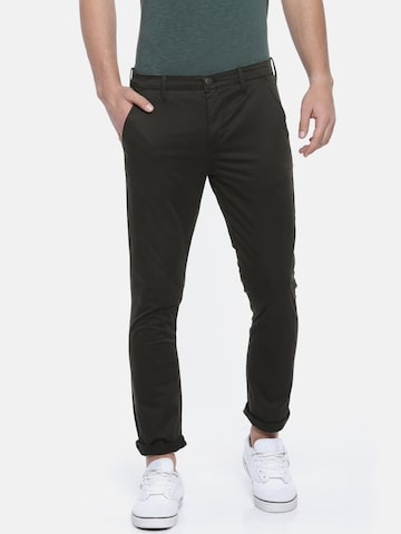Calvin Klein Jeans Men Black Regular Fit Solid Chinos Calvin Klein Jeans Trousers at myntra