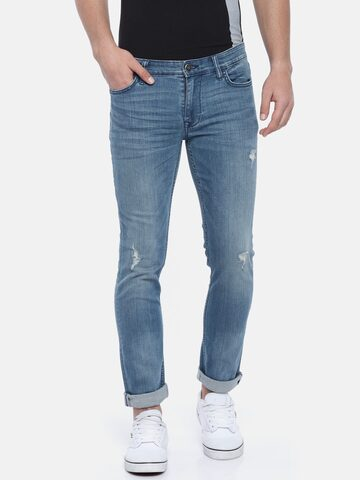 Calvin Klein Jeans Men Blue Skinny Fit Mid-Rise Low Distress Stretchable Jeans Calvin Klein Jeans Jeans at myntra