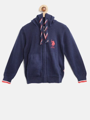 U.S. Polo Assn. Kids Boys Navy Blue Solid Hooded Cardigan U.S. Polo Assn. Kids Sweaters at myntra
