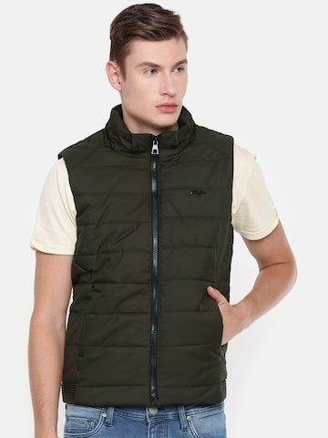 Killer Men Olive Green Solid Padded Jacket Killer Jackets at myntra