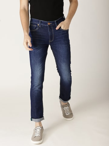 United Colors of Benetton Men Navy Blue Skinny Fit Mid-Rise Clean Look Stretchable Jeans United Colors of Benetton Jeans at myntra