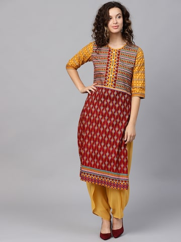 Shree Women Maroon & Mustard Yellow Printed Straight Kurta Shree Kurtas at myntra