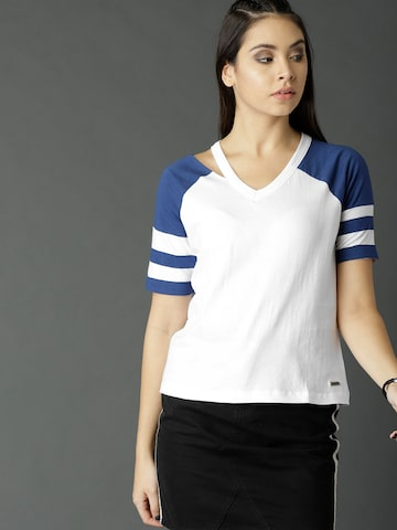 c63a6d57148ac4 Roadster Women White Solid Top Roadster Tops from myntra in Women Apparels