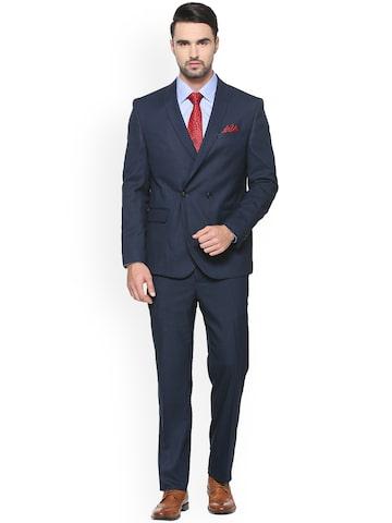 V Dot Men Navy Blue Slim Fit Solid Double-Breasted Formal Suit V Dot Suits at myntra