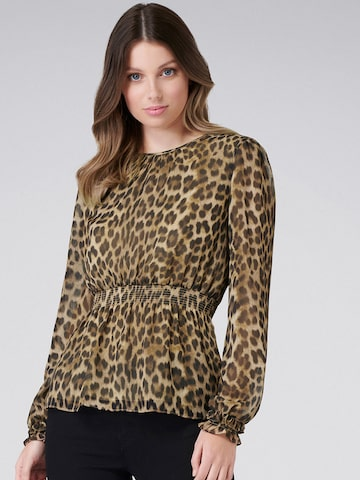 Forever New Women Brown Animal Printed Cinched Waist Top Forever New Tops at myntra