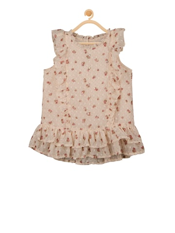 Budding Bees Girls Beige Printed A-Line Dress Budding Bees Dresses at myntra