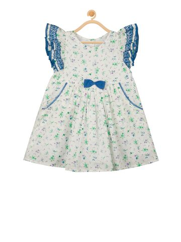 Budding Bees Girls Off-White & Blue Printed Fit and Flare Dress Budding Bees Dresses at myntra