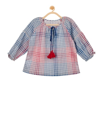 Budding Bees Girls White Checked Top Budding Bees Tops at myntra
