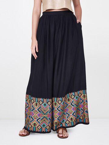 Global Desi Women Black Printed A-Line Maxi Skirt Global Desi Skirts at myntra