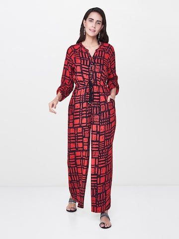 Global Desi Red & Black Printed Basic Jumpsuit Global Desi Jumpsuit at myntra