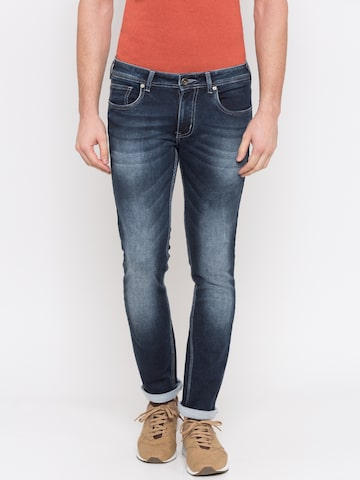 Globus Men Blue Skinny Fit Low-Rise Clean Look Stretchable Jeans Globus Jeans at myntra