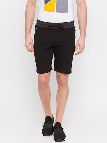Globus Men Black & Grey Colourblocked Regular Fit Regular Shorts Globus Shorts at myntra