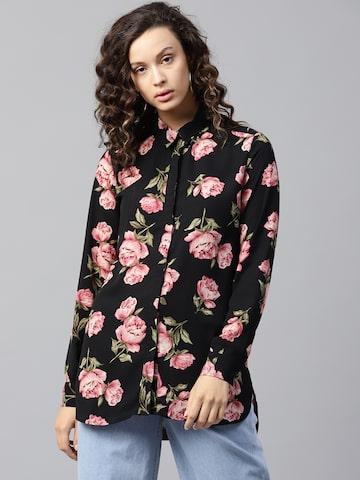 Femella Women Black & Pink Floral Print Longline Casual Shirt Femella Shirts at myntra