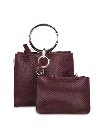 Elle Burgundy Textured Handheld Bag Elle Handbags at myntra