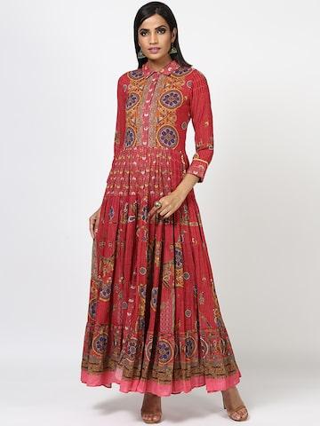 Ritu Kumar Women Burgundy Printed Maxi Dress Ritu Kumar Dresses at myntra