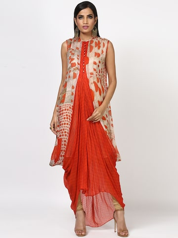 Ritu Kumar Women Orange Printed A-Line Kurta Ritu Kumar Kurtas at myntra