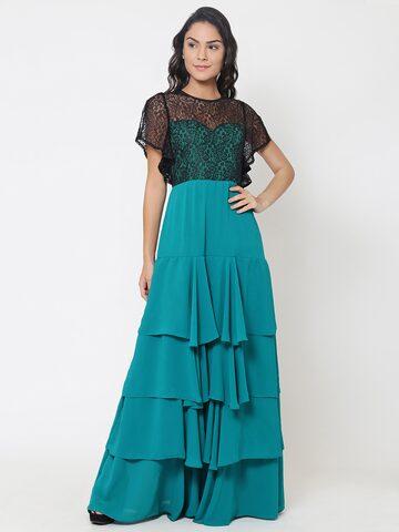 Martini Women Green & Black Self Design Maxi Dress Martini Dresses at myntra