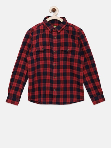 Bossini Boys Red Regular Fit Checked Casual Shirt Bossini Shirts at myntra