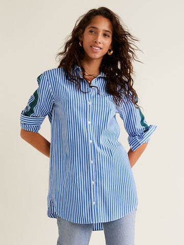 MANGO Women Blue & White Regular Fit Striped Casual Shirt MANGO Shirts at myntra
