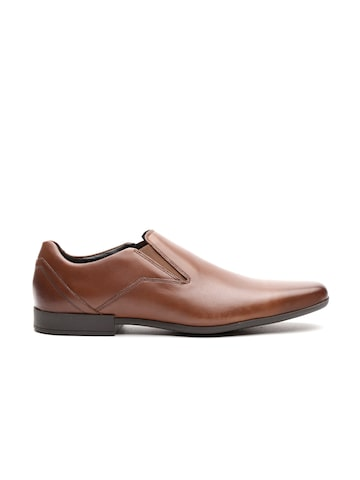 Clarks Men Brown Solid Leather Formal Slip-Ons Clarks Formal Shoes at myntra
