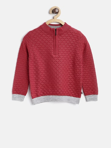 United Colors of Benetton Boys Red Self Design Pullover United Colors of Benetton Sweaters at myntra