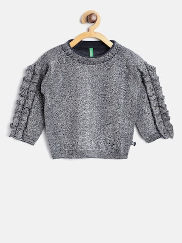 United Colors of Benetton Girls Navy Blue & Silver-Toned Self Design Pullover United Colors of Benetton Sweaters at myntra