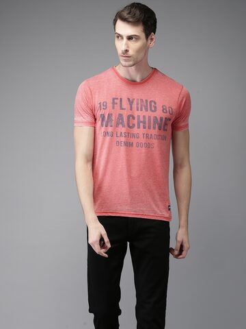 Flying Machine Men Peach-Coloured Printed T-shirt Flying Machine Tshirts at myntra