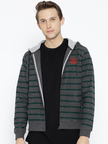 Flying Machine Men Charcoal Grey & Green Hooded Striped Sweatshirt Flying Machine Sweatshirts at myntra