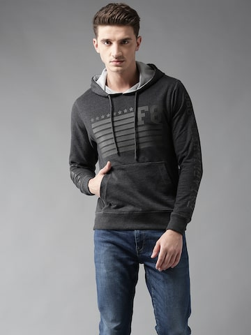 Flying Machine Men Charcoal Grey Printed Hooded Sweatshirt Flying Machine Sweatshirts at myntra