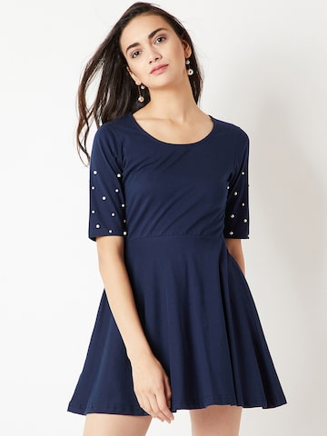 Miss Chase Women Navy Blue Embellished Fit and Flare Dress Miss Chase Dresses at myntra