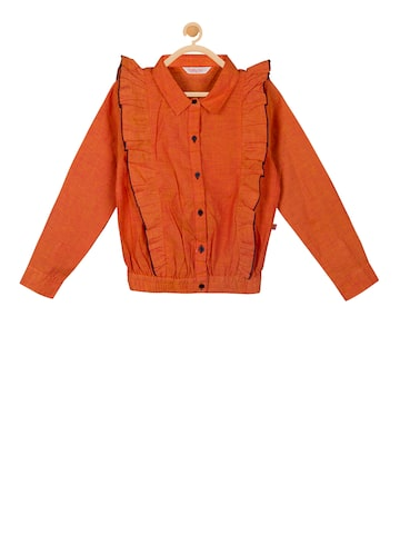 Budding Bees Girls Orange Solid Shirt Style Top Budding Bees Tops at myntra