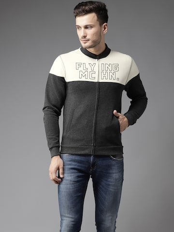 Flying Machine Men Charcoal Grey & White Colourblocked Sweatshirt Flying Machine Sweatshirts at myntra