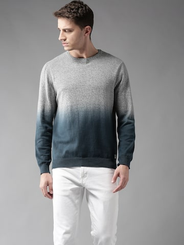 Flying Machine Men Grey Melange & Teal Blue Ombre Dyed Pullover Flying Machine Sweaters at myntra