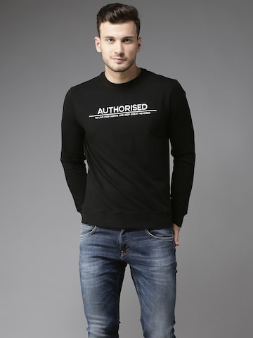 Flying Machine Men Black Solid Sweatshirt Flying Machine Sweatshirts at myntra