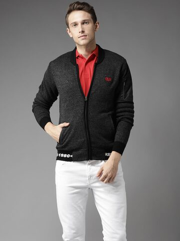 Flying Machine Men Charcoal Grey Solid Cardigan Flying Machine Sweaters at myntra
